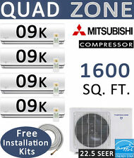 22.5 SEER Quad Zone Ductless Mini Split Air Conditioner Heat Pump : 9000 BTU x 4