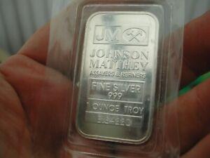 1oz .999 Fine Silver Bullion Bar Johnson Matthey JM. B164220 Factory Sealed SALE