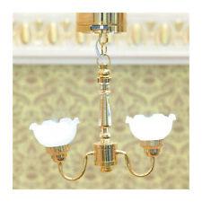 Maison de poupées miniature échelle 1//12th blanc filaire 12 V lampe ou Plafonniers