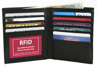 Black RFID Blocking European Leather Hipster Men's Bifold Wallet 8+ Card Holder