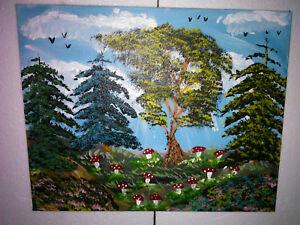 Manni Ludolf - Der Pilzwald 40cm x 50cm Acryl auf Leinwand (188)