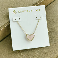 Kendra Scott Ari Heart / Pendant Necklace Gold Rose Quartz NEW