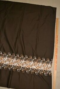 """Cotton apparel fabric 43"""" x 1.8 yards, brown with floral embroidered border"""