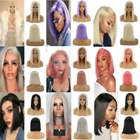 Women Lace Front Wig Short Straight Cosplay Party Full Hair Wigs Synthetic Anime