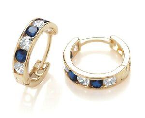 9ct Gold Blue Sapphire Huggie Cuff Hoop Earrings