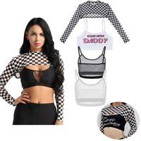 Women Fishnet Crop Tank Top Hooded T Shirts Bra Long Sleeve Jacket Vest Outwear