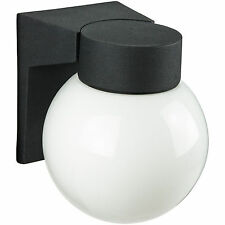 Wall Mount Globe Style Outdoor Fixture Black White Glass
