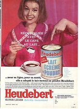 PUBLICITE ADVERTISING 034 1963 HEUDEBERT lait écrémé en poudre