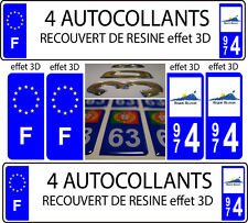 "4 adesivi targa auto TUNING EFFETTO DOMING 3D RESINA REUNION 974 + ""F"""