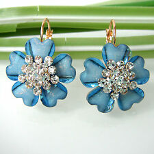 Navachi Flower Blue Acetate 18K GP Crystal Rhinestone Leverback Earrings BH2303