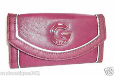 GUESS VERINNA SLG PURPLE MULTI SMALL SLIM WALLET SILVER TONE LOGO NEW WITH TAG