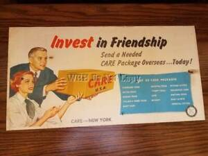 "1940's CARE New York PACKAGE LITHO POSTER ""Invest In Friendship"""