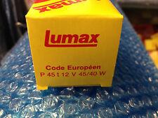 1AMPOULE LUMAX CODE EUROPÉEN P45T JAUNE 12V 40-45W AUTOMOBILE VINTAGE COLLECTION