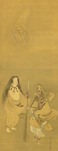 菊池容斎 KIKUCHI YOSAI Hanging scroll / SARUTAHIKO OKAMI & AME-NO-UZUME I919