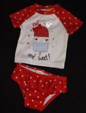 NEW girls GYMBOREE Swimsuit Red White & Sweet Rash Guard & Bottoms Size 2T