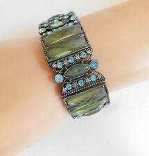 Estate Green Blue Faceted Rhinestone Glass Crystal Stretch Bracelet