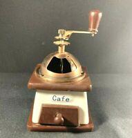 Vintage Cafe Coffee Grinder Mill Handheld French Blue White Porcelin Copper Wood