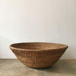 "Vintage Large Woven Coiled Wicker Basket Rattan Bowl Log Display Storage 18.5"""