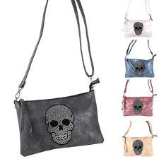 Totenkopf Skull Skelett Schädel Strass Umhänge Tasche Cross Bag Clutch Metallic