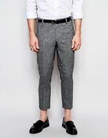 RIVER ISLAND CROPPED ANKLE GRAZER SLIM FIT TWEED TROUSERS SMART FORMAL GOING OUT