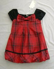 NWT MONNALISA GIRLS RED BLACK TARTAN DRESS 10 - 11 yrs SZ 11 EUR 146
