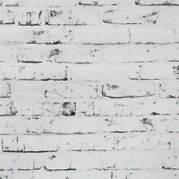 Vinyl Wallpaper textured 3D wallcoverings white gray black modern faux brick 3-D