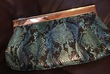 Big Buddha Teal Faux Snakeskin Clutch/Shoulder Bag -Chain Strap/Top Clasp Entry