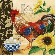 """Country Rooster  Diamond Embroidery Facet Art Kit   16""""X16""""  Intermediate Skill"""