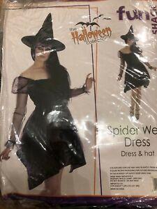 ADULT WOMENS PURPLE SPIDER WEB DRESS HALLOWEEN FANCY DRESS COSTUME - XS 4-6