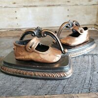 Vintage Pair Bookends 1940s Heirloom Bronzed Baby Shoes