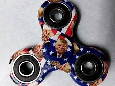 Donald Trump President cartoon style 2 sided Fidget Spinner on US Flag Free Ship