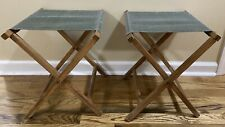 Pair Of Vintage Camp Stools (2) Green Canvas & Wood Folding Chairs