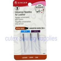Singer 3-PK Flat Shank Assorted Size Leather Needles For Home Sewing Machines