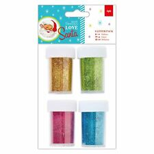 Love Santa Papermania Christmas Craft Collection - Glitter Craft Pack (4pk)