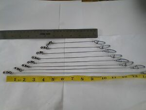 """21 SOLID STAINLESS S. WIRE LEADER 4"""",5"""",6"""" 100 LBS TEST/B. BEARING SWIVEL/7 EA"""