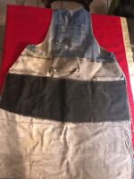 Quilted DENIM APRON VINTAGE Faded Worn Distressed Blue Jean Workwear Shop Apron