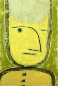 PAUL KLEE Gelb-Grune WINKING facial expression yellow green smile CANVAS/PAPER