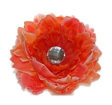 "Large Double Silk Peony 5.5"" Orange Flower Hair Clip Handmade Big Crystal"