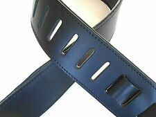 """GENUINE LEATHER GUITAR STRAP UK MADE 2.5"""" WIDE BLACK PADDED ACOUSTIC ELECTRIC"""