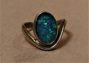 STUNNING GOLD PLATED STERLING SILVER OPAL RING SIZE 7 or N  3.94g