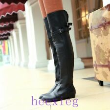 New Womens Low Heel Knee High Knight Boots Pull On Buckle Round Toe Casual Shoes
