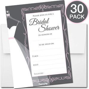 30 Bridal Shower Invitations with Envelopes - Wedding Shower Invitations - Grey