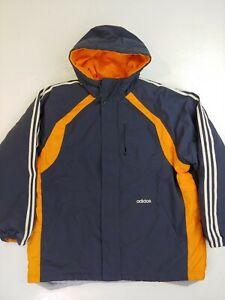 Vintage Adidas Reversible Jacket blue orange Mens Size XXL Hooded Winter Coat