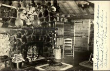 Lake Hebron ME Island Cabin Interior Dog & Fireplace Real Photo Postcard