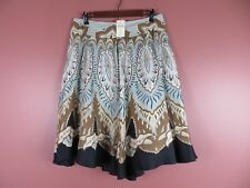 SK11072- NWT COLDWATER CREEK Woman Silk Flared Skirt Multi-Color Geo PL $99.50