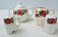 Vintage Hand Painted Floral Creamer,  Sugar Bowl, Salt and Pepper Set Japan