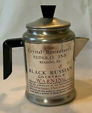 Vintage Crystal Restaurant Reading, PA Black Russian Cocktail Mini Coffee  Pot