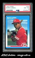 1987 Fleer #204 - Barry Larkin RC HOF (Cincinnati Reds) - PSA NM-MT 8.0