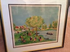 Signed and Framed Lithograph of a Riverside Scene by Michel Hermel - Limited Ed.