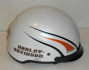 White Harley-Davidson Motorcycle Half Helmet Size L (Large) Pre-Owned HD-16 H-D